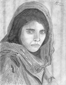 Drawing of National Geographic 'Afghan Girl' cover