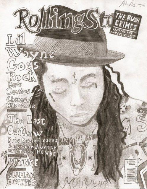 Lil Wayne Rolling Stone Cover Drawing
