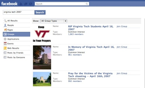 Facebook Groups Created In Response To The 2007 Tragedy